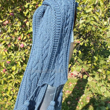 Blue Cable Hand Knit Hooded Scarf Merino Wool Pom Pom Hat Infinity Hood Scarf Chunky Hat Chunky Hooded Cowl Winter Hoodie Hood Extra Long