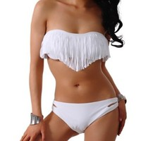 2013 Hot New Tassel Padded Bandeau Fringe Bikini 2pcs Set Swimsuit Swimwear White