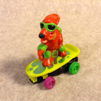 "Skateboard Gang Dog Figure ""Wipeout"" - Old Toy from the 80's - dated on the toy Mattel 1986"