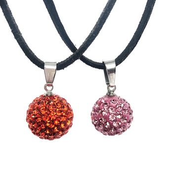 Shamballa Crystals Stainless Steel Pendant Necklace