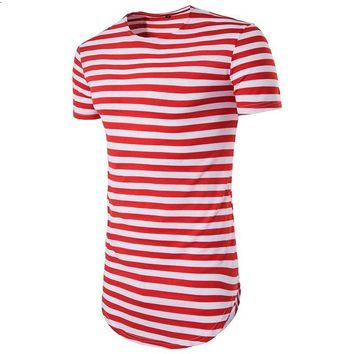Stripes Men Longline Shirts Extra Long Oversized Tall Tees