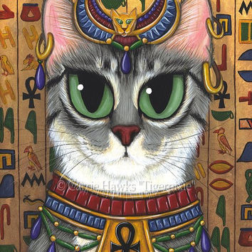 Cat Bast Art Egyptian Goddess Bastet Cat Painting Ancient Egypt Mau Big Eye Art Fantasy Cat Art Print 8x10 Cat Lovers Art