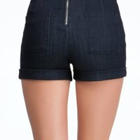 bebe Back Zip High Waist Short Denim Rinse-30: Clothing