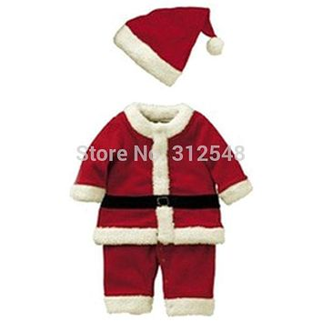Baby Kid Boys Christmas Suits Xmas Santas Clothes Jumpsuits + Hat Cosplay Outfit Hot Selling