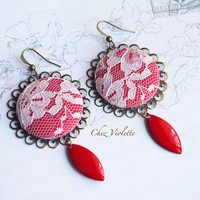Pink Red earrings - Lace earrings - Fabric earrings with enamel bead - round dangle - romantic and retro earrings