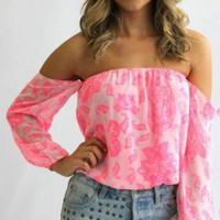 Pink Off the Shoulder Top with All Over Print