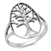 Sterling Silver Tree of Life Ring 20MM