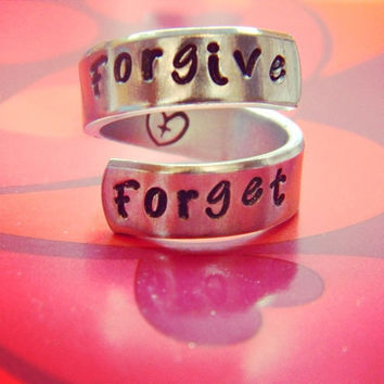 forgive forget  heart cross hand stamped inside aluminum spiral  ring