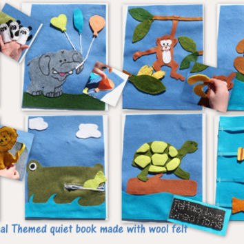Animal themed 8 page Quiet Book -Kids -Travel - Busy Book