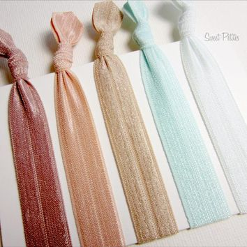 Elastic Hair Tie Sand Sea And Sky Collection Set Of 5 Doubles As Bracelet | Luulla