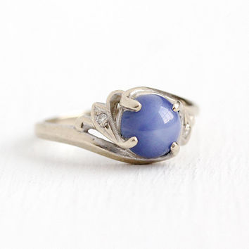 Vintage Cabochon Ring - 14k White Gold 1.93 CT Created Star Sapphire + Genuine Diamond - Retro Size 6 1/4 Blue Linde B&F Baden Foss Jewelry