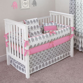 Custom Made - Ele 5pc Crib Bedding Set (choose your color)