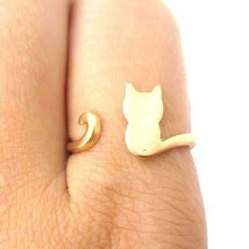 Kitty Cat Silhouette Animal Shaped Adjustable Ring in Gold
