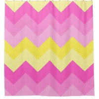 Hot Pink Yellow Chevron Ombre Pattern Print Shower Curtain