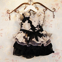 Girls Black / White Dress Flower Print