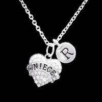Choose Initial, Niece Crystal Heart Valentine Graduation Gift Charm Necklace