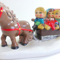 Vintage Ceramic Christmas Figures Horse Drawn Sleigh  with Children Christmas Tree Music Box O Little Town of Bethlehem Made In Japan Sankyo