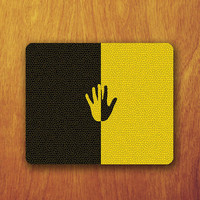 Left Hand Stopping Symbol Mouse PAD Black and Yellow Background Desk Pad Computer Office Work Accessory Personalized Custom Gift for Boss
