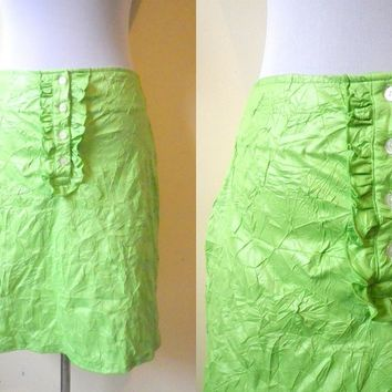 Spring / Summer Sale: neon lime green crumpled mini skirt (28 inches)