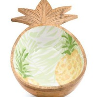 Glazed Mango Wood Pineapple Print Serving Bowl