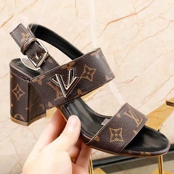 Louis Vuitton  LV  Rough heel simple lady sandals