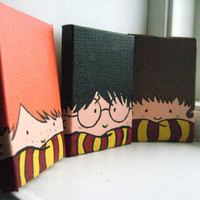 Painted Harry Potter Trio by recTangles11 on Etsy