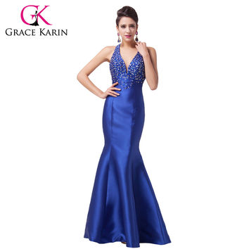Grace Karin New Satin Royal Blue Trumpet Mermaid Prom Dresses Dance wear Halter Beadings Formal Long Evening Dress Gown 2017