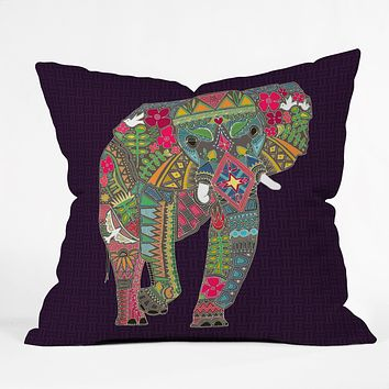 Sharon Turner Painted Elephant Purple Throw Pillow