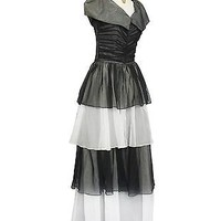 1940s Masquerade Ball Gown Black Tie Dress Black & White Formal Sz 0