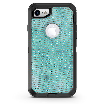 Blue-Green Watercolor and Gold Glitter Chevron - iPhone 7 or 8 OtterBox Case & Skin Kits