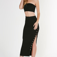 Body Language Ribbed Midi Skirt