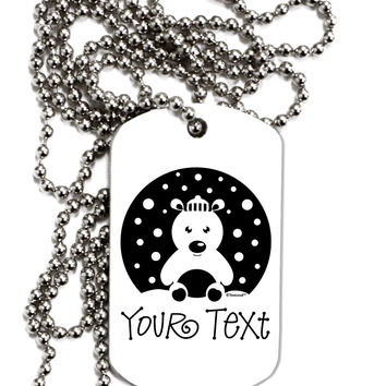 Personalized Matching Polar Bear Family Design - Your Text Adult Dog Tag Chain Necklace