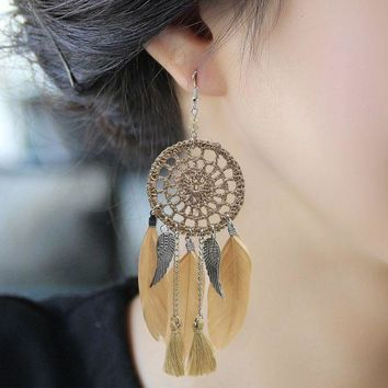 CREYCT9 Earrings Feather Stylish Dream Catcher [11573014292]
