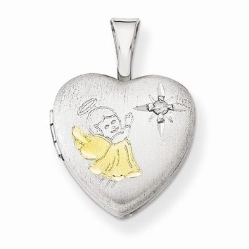 Sterling Silver Gold-plated & Diamond Angel 12mm Heart Locket