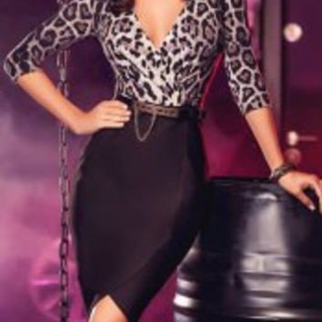 Sexy Plunging Neck 3/4 Sleeve Cheetah Print Club Dress For Women