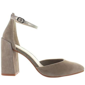 ONETOW Seychelles Gaggle - Taupe Suede/Platinum Leather Ankle Strap Pump