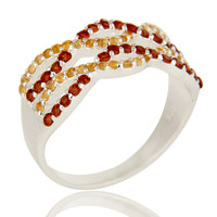 925 Sterling Silver Citrine And Garnet Infinity Sign Cluster Ring