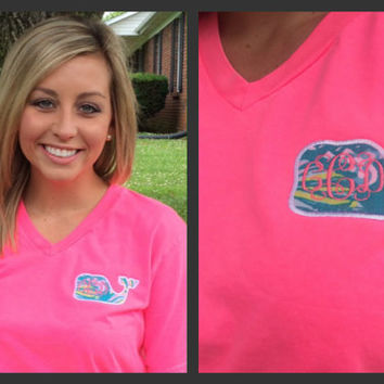 Vineyard Vine Inspired V-Neck Comfort Colors Whale Monogram T-Shirt with Lilly Pulitzer fabric and  Monogram.