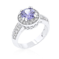 Lavender Halo Engagement Ring, size : 08