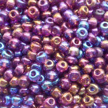 One pkg 24 grams Amethyst AB, Purple Czech 6/0 glass seed beads, size 6 Preciosa Rocaille 4mm spacer beads, large, big hole C8424