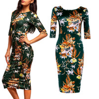 Summer Green Print One Piece Dress [6461448449]