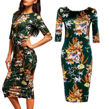 Summer Green Print One Piece Dress [5024139204]
