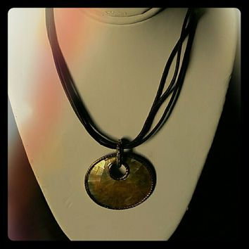 MONET Mother of Pearl & Leather Necklace