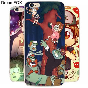DREAM FOX K113 Gravity Falls Transparent Hard Thin Case Cover For Apple iPhone 8 X 7 6 6S Plus 5 5S SE 5C 4 4S