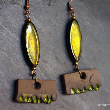 Earrings Rustic, Jewelry Primitive, Green Brown, Rake, Odd, Weird, Off beat