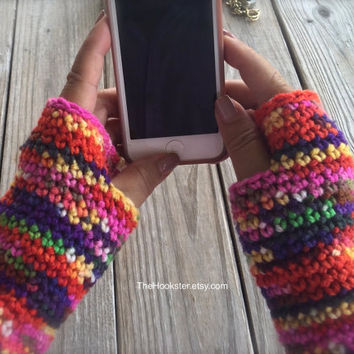 Hand Crocheted Aztec Print Texting Gloves, Fingerless Gloves, Crocheted Arm Warmers, Multicolored Fingerless Gloves, Boho Bohemian Gloves