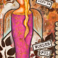 Inspirational art, Life Is Wonderful, Painting, Girl, Angel, Quote, Brown Purple, Mixed Media, Whimsical, Affirmation, Giclée Print 12 x 16""
