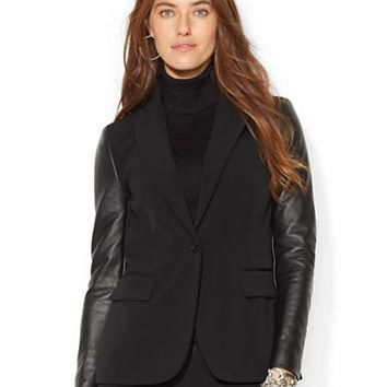 Lauren Ralph Lauren Petite Leather Sleeved Jacket