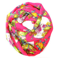 Hot Pink Skull and Flower Infinity Eternity Scarf Endless Loop Circle Scarf Neck Warmer Skulls Womens Scarf Fashion Fun