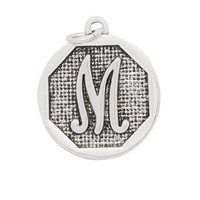 Designer Inspired Add A Charm Initial Letter M Silver Plate for Expandable Bangle Bracelet